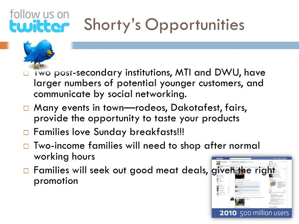 Shorty's Opportunities  Getting on Facebook and or Twitter  Two post-secondary institutions, MTI and DWU, have larger numbers of potential younger customers, and communicate by social networking.