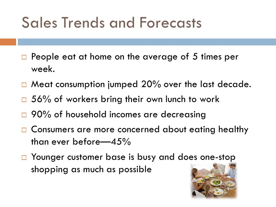 Sales Trends and Forecasts  People eat at home on the average of 5 times per week.