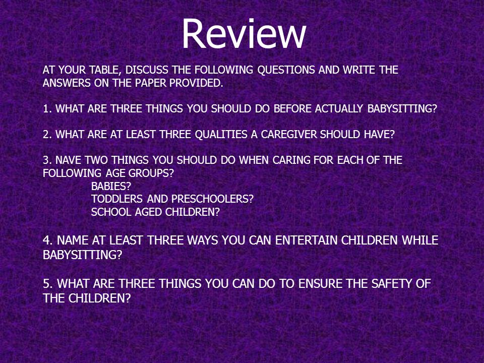 AT YOUR TABLE, DISCUSS THE FOLLOWING QUESTIONS AND WRITE THE ANSWERS ON THE PAPER PROVIDED.
