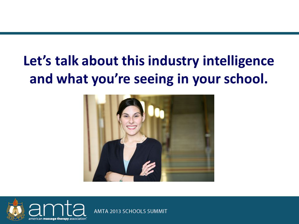 Let's talk about this industry intelligence and what you're seeing in your school.