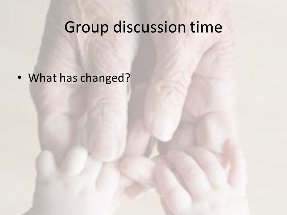 Group discussion time What has changed
