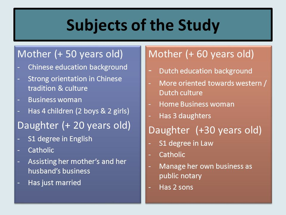 Subjects of the Study Mother (+ 50 years old) -Chinese education background -Strong orientation in Chinese tradition & culture -Business woman -Has 4