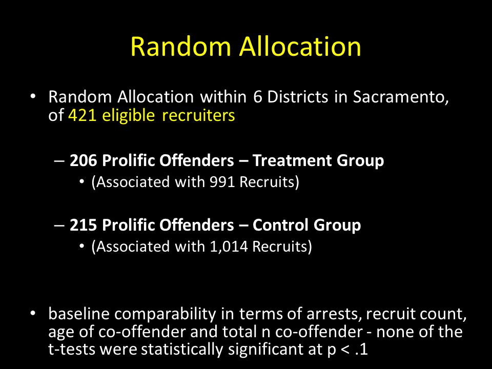 Random Allocation Random Allocation within 6 Districts in Sacramento, of 421 eligible recruiters – 206 Prolific Offenders – Treatment Group (Associate