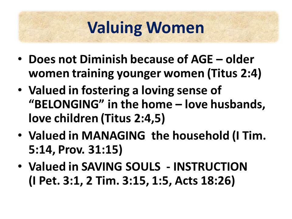 Valuing Women Never usurping the headship of man – teaching over him (I Tim.