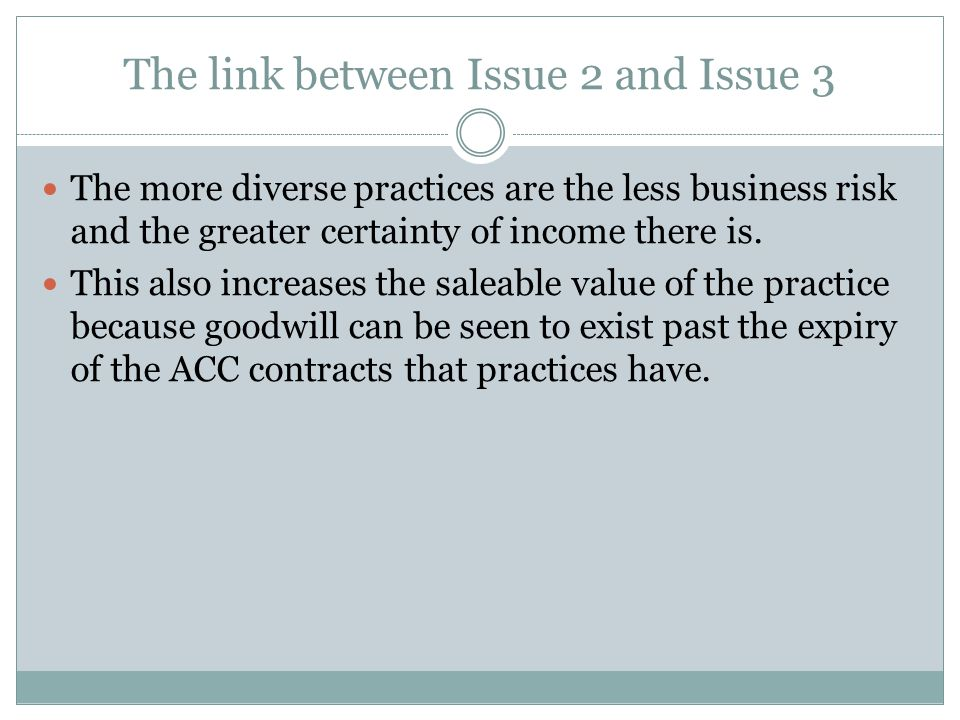 The link between Issue 2 and Issue 3 The more diverse practices are the less business risk and the greater certainty of income there is.