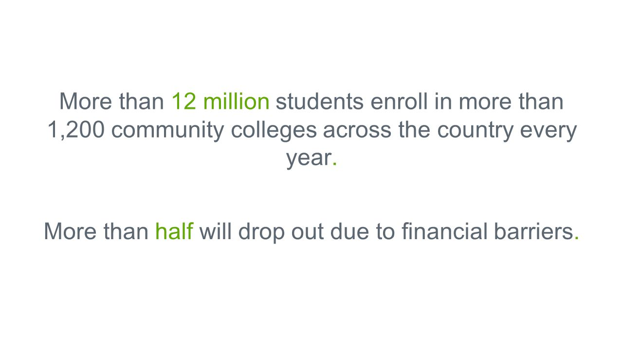 More than 12 million students enroll in more than 1,200 community colleges across the country every year.