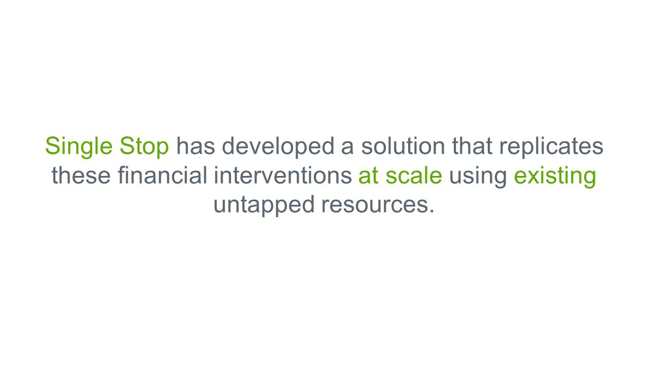 Single Stop has developed a solution that replicates these financial interventions at scale using existing untapped resources.