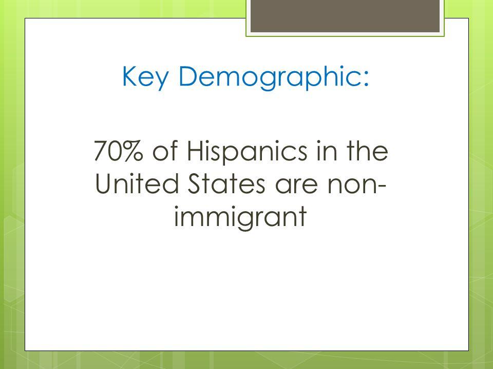 Key Demographic: 70% of Hispanics in the United States are non- immigrant