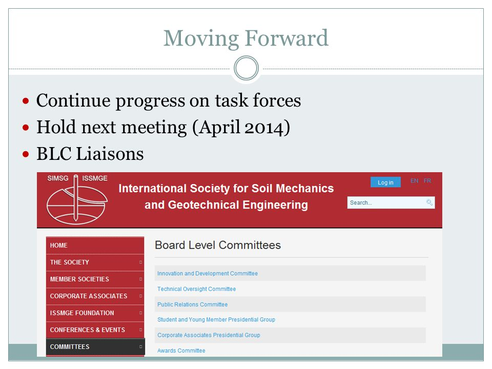 Moving Forward Continue progress on task forces Hold next meeting (April 2014) BLC Liaisons