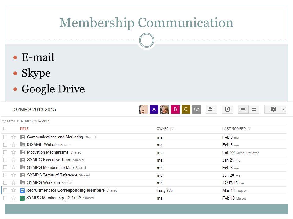 Membership Communication E-mail Skype Google Drive