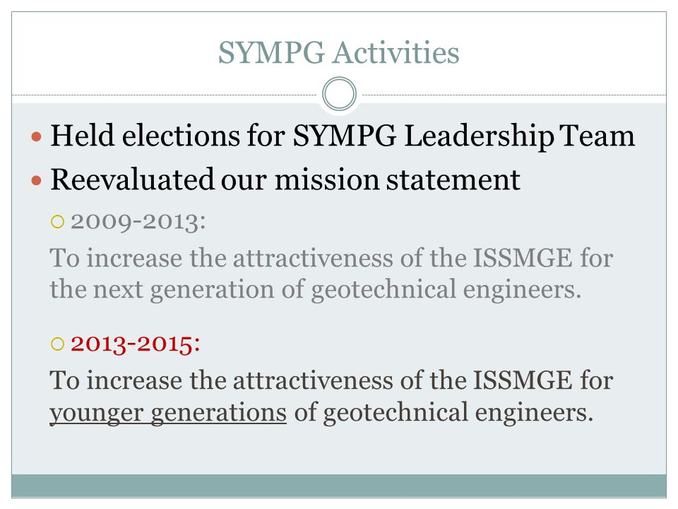 SYMPG Activities Held elections for SYMPG Leadership Team Reevaluated our mission statement  2009-2013: To increase the attractiveness of the ISSMGE for the next generation of geotechnical engineers.