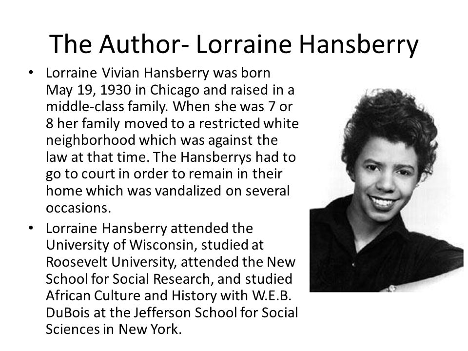 Hansberry Continued The production of her play, A Raisin in the Sun catapulted Hansberry into the forefront of the theatre world.