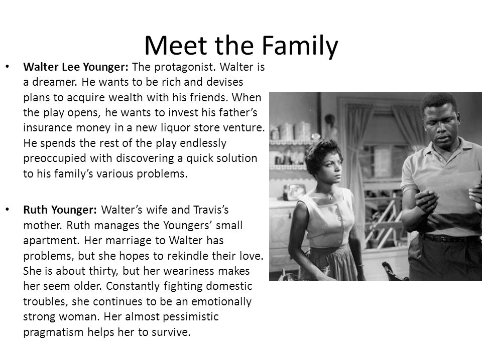 Meet the Family Lena Younger ( Mama ): Walter and Beneatha's mother.