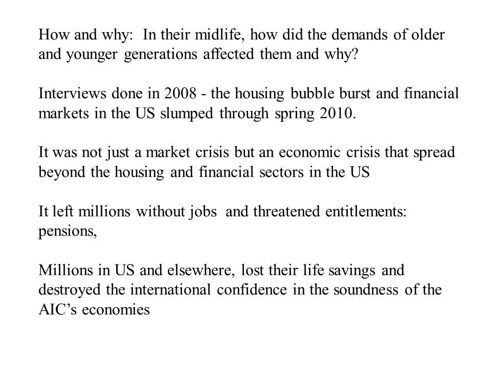 US and Canada: US: Steep and unalterable rise in long term chronic unemployment Long term persistence of record number of unemployed, still plaguing the US Rise of ghost towns and empty neighbourhoods due to housing market collapse and mortgage defaults and housing foreclosures Poverty and inequality: Already high inequality in the US compared to other OECD countries, now became worse