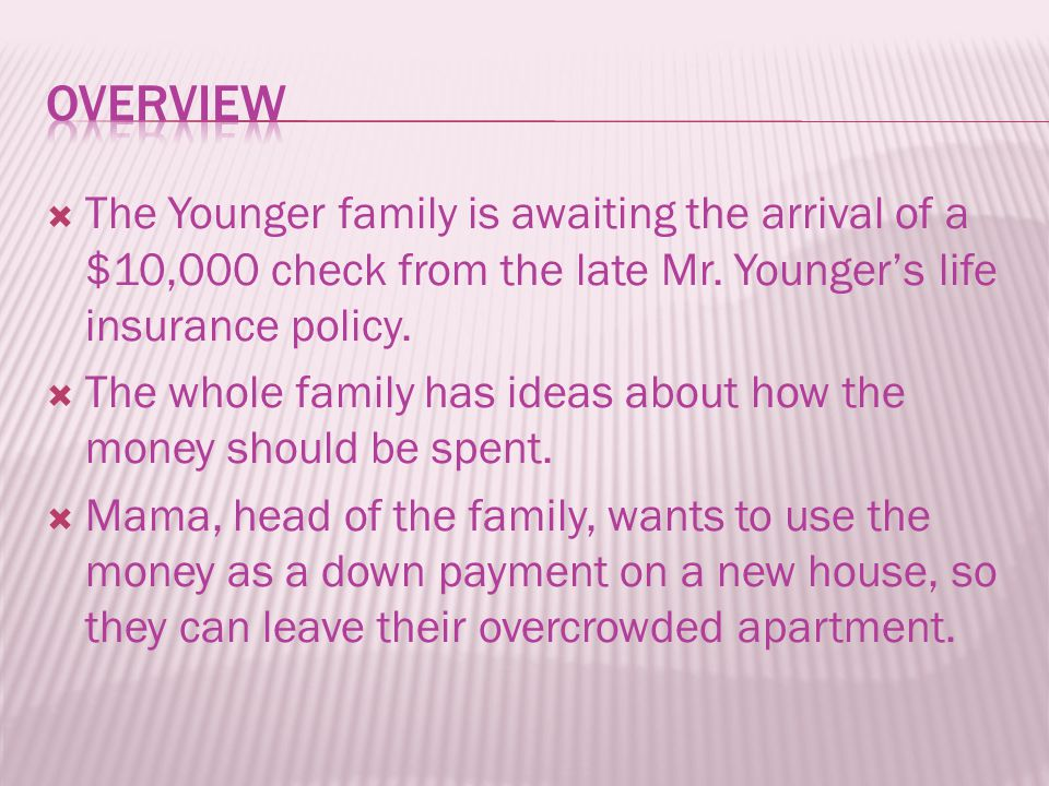  The Younger family is awaiting the arrival of a $10,000 check from the late Mr. Younger's life insurance policy.  The whole family has ideas about
