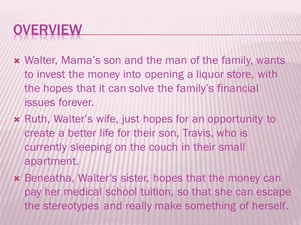  Walter, Mama's son and the man of the family, wants to invest the money into opening a liquor store, with the hopes that it can solve the family's financial issues forever.