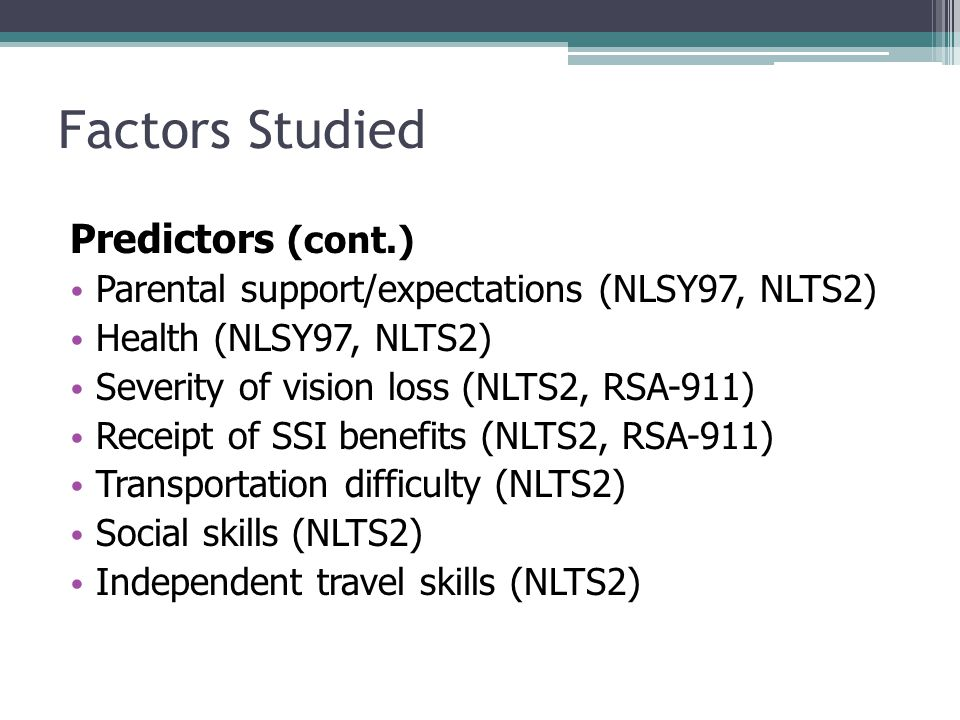 Factors Studied Predictors (cont.) Parental support/expectations (NLSY97, NLTS2) Health (NLSY97, NLTS2) Severity of vision loss (NLTS2, RSA-911) Receipt of SSI benefits (NLTS2, RSA-911) Transportation difficulty (NLTS2) Social skills (NLTS2) Independent travel skills (NLTS2)