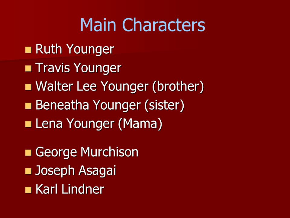 Main Characters Ruth Younger Ruth Younger Travis Younger Travis Younger Walter Lee Younger (brother) Walter Lee Younger (brother) Beneatha Younger (sister) Beneatha Younger (sister) Lena Younger (Mama) Lena Younger (Mama) George Murchison George Murchison Joseph Asagai Joseph Asagai Karl Lindner Karl Lindner