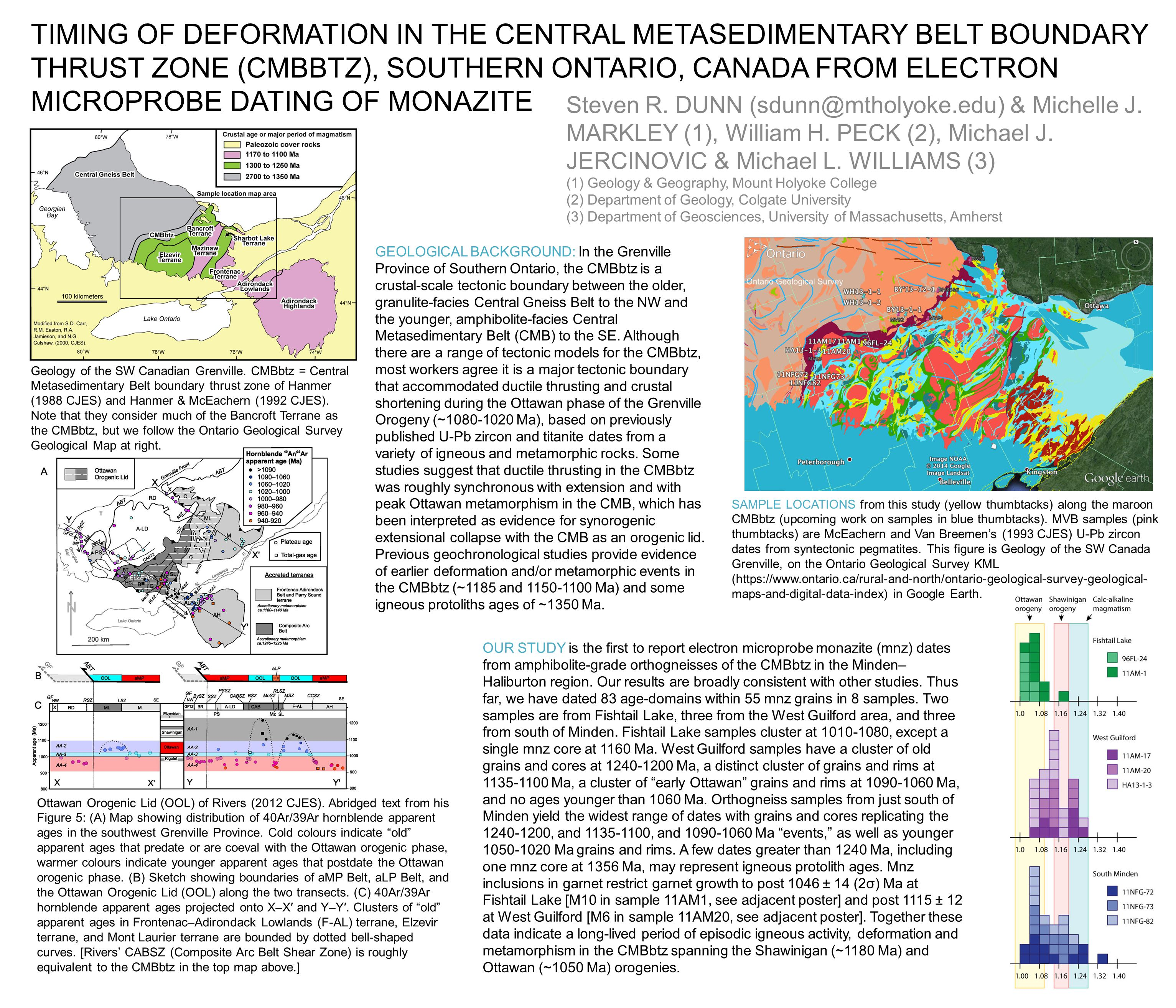 TIMING OF DEFORMATION IN THE CENTRAL METASEDIMENTARY BELT BOUNDARY THRUST ZONE (CMBBTZ), SOUTHERN ONTARIO, CANADA FROM ELECTRON MICROPROBE DATING OF MONAZITE Steven R.