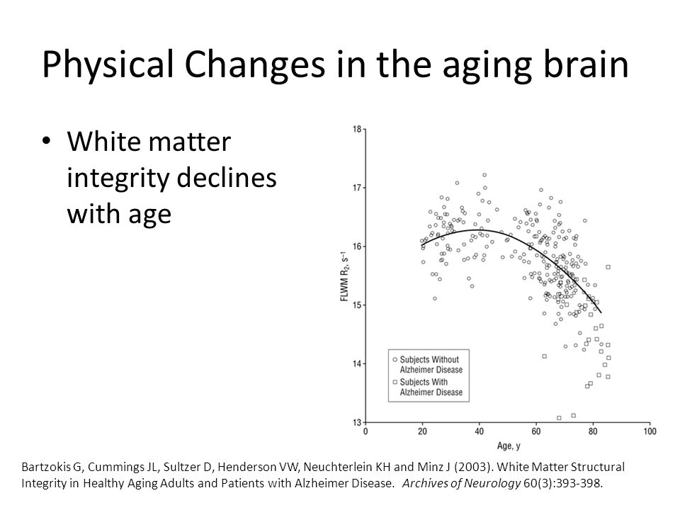 Cognitive changes in the aging brain The Nun Study – Began in 1986 focusing on 678 Roman Catholic sisters to study the onset of Alzheimer's disease – Examined autobiographical essays written by the nuns before joining the sisterhood (~ 22 yrs old) Linguistic density (more complex sentences, fluency) significantly predicted risk of developing Alzheimer's Riley KP, Snowdon DA, Desrosiers MF, Markesbery WR (2005).