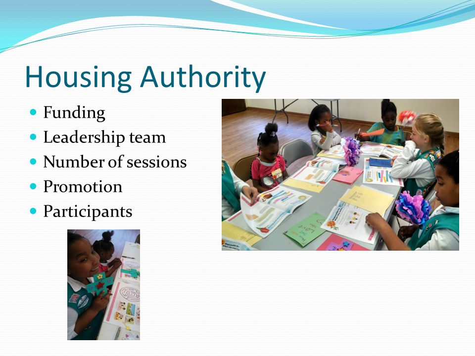 Housing Authority Funding Leadership team Number of sessions Promotion Participants