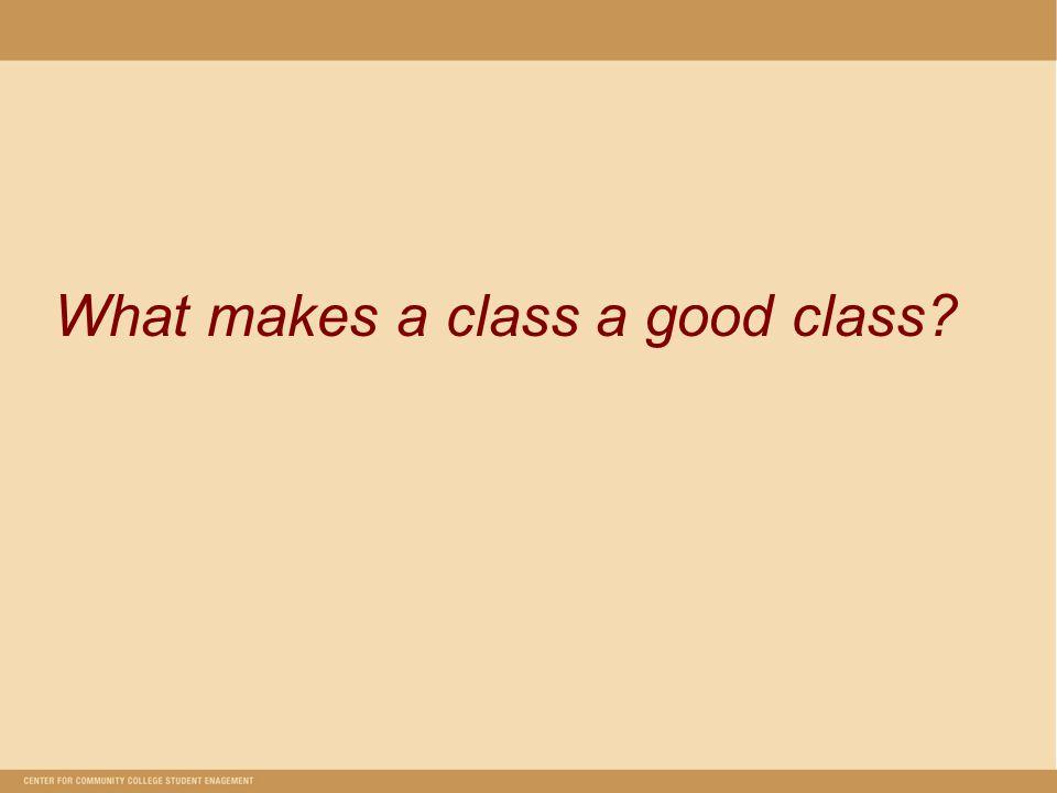 What makes a class a good class