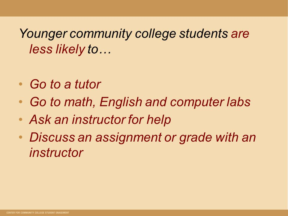 Younger community college students are less likely to… Go to a tutor Go to math, English and computer labs Ask an instructor for help Discuss an assignment or grade with an instructor
