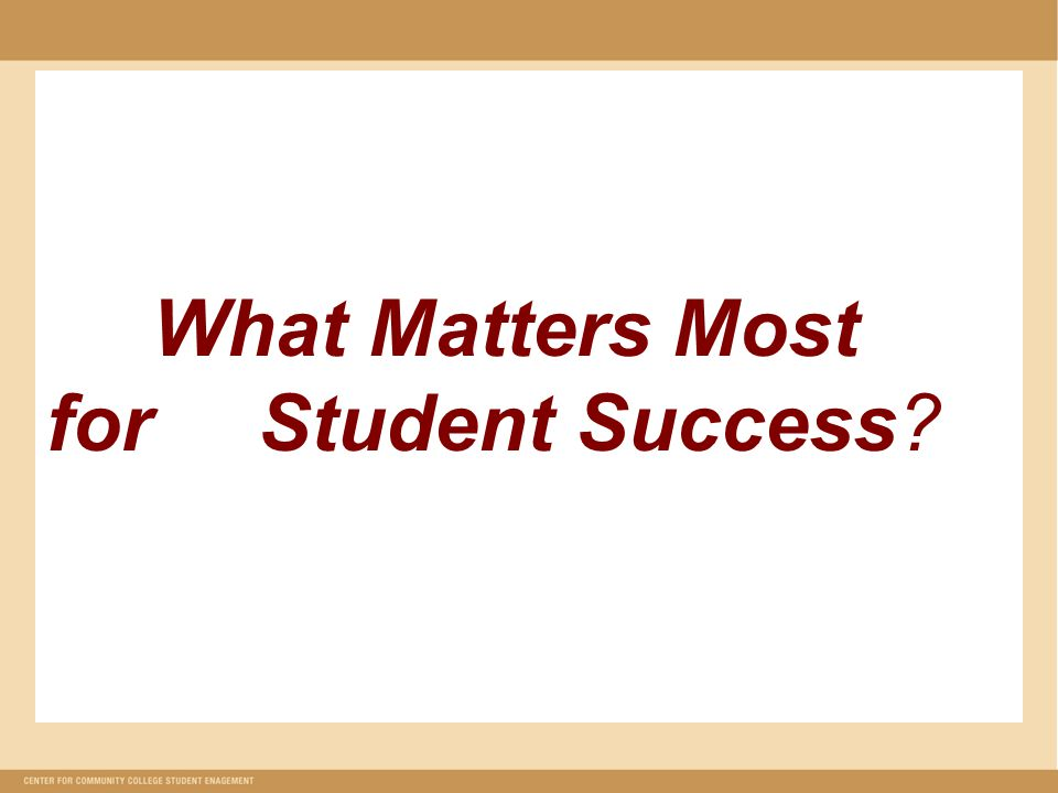 What Matters Most for Student Success