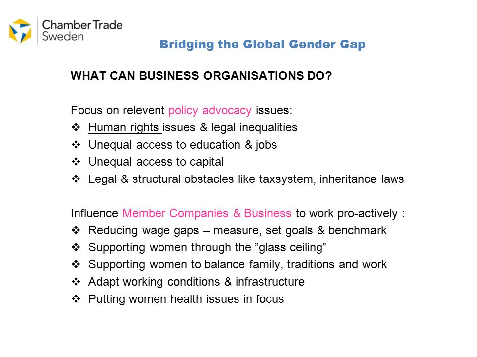 Bridging the Global Gender Gap WHAT CAN BUSINESS ORGANISATIONS DO.
