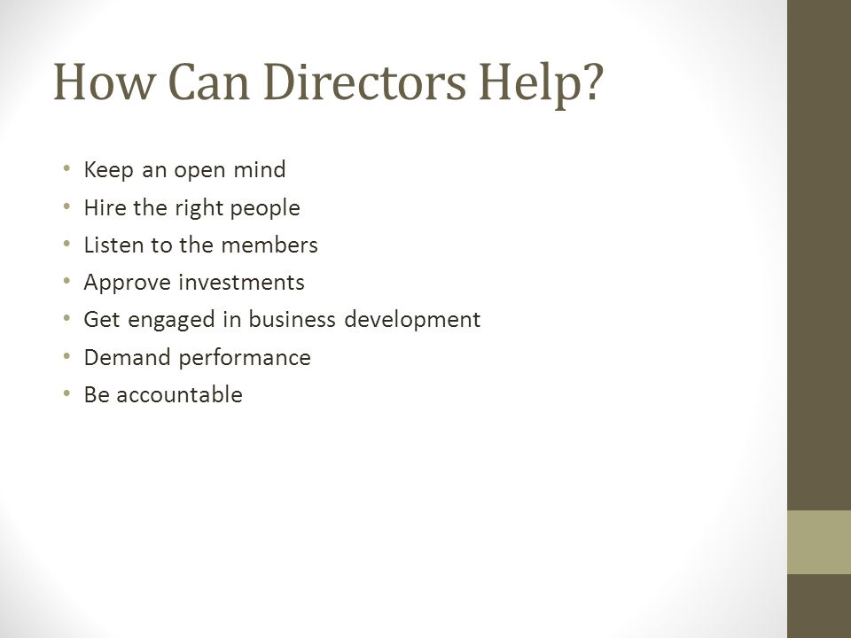 How Can Directors Help.