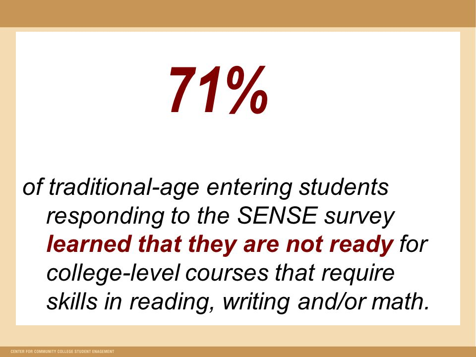71% of traditional-age entering students responding to the SENSE survey learned that they are not ready for college-level courses that require skills in reading, writing and/or math.