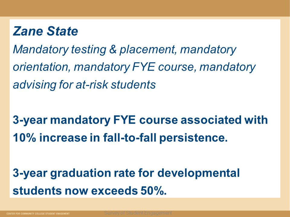 Zane State Mandatory testing & placement, mandatory orientation, mandatory FYE course, mandatory advising for at-risk students 3-year mandatory FYE course associated with 10% increase in fall-to-fall persistence.