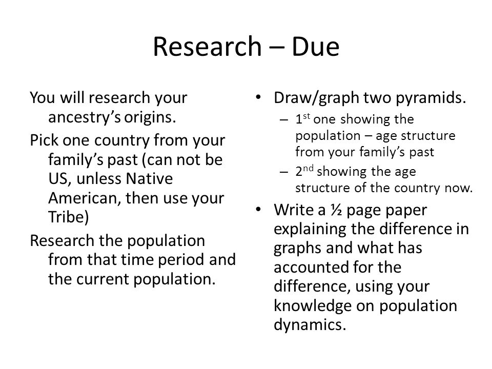 Research – Due You will research your ancestry's origins. Pick one country from your family's past (can not be US, unless Native American, then use yo