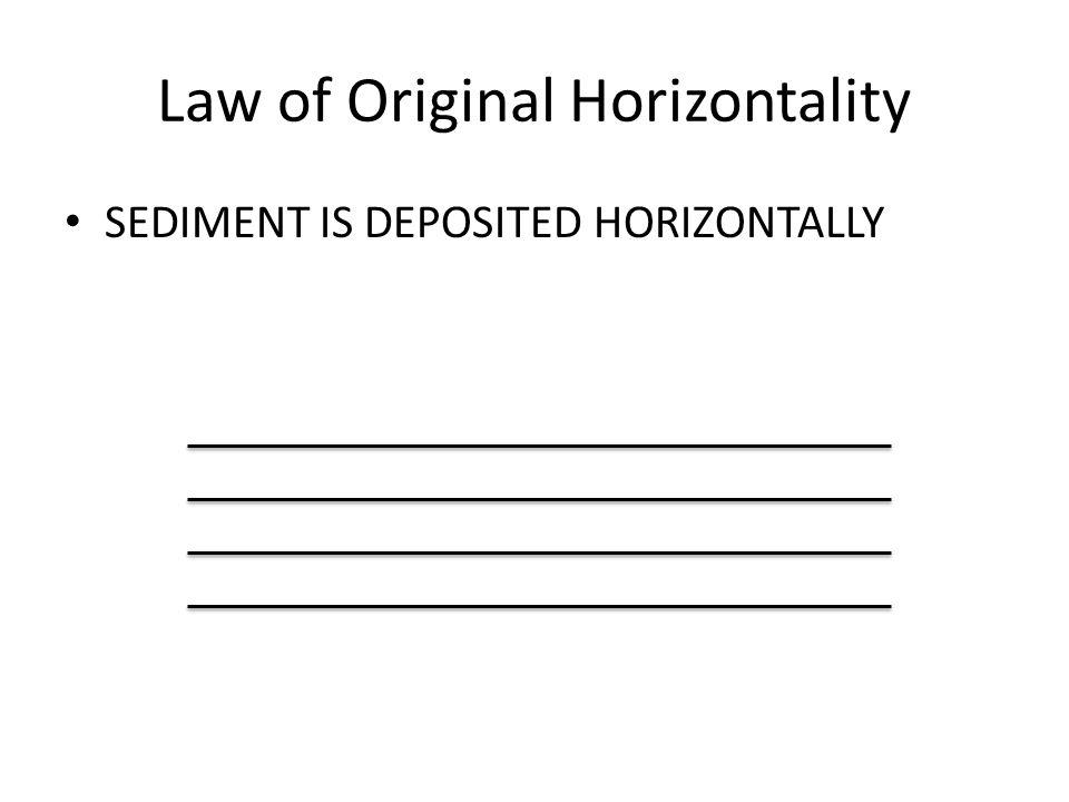 Law of Original Horizontality SEDIMENT IS DEPOSITED HORIZONTALLY