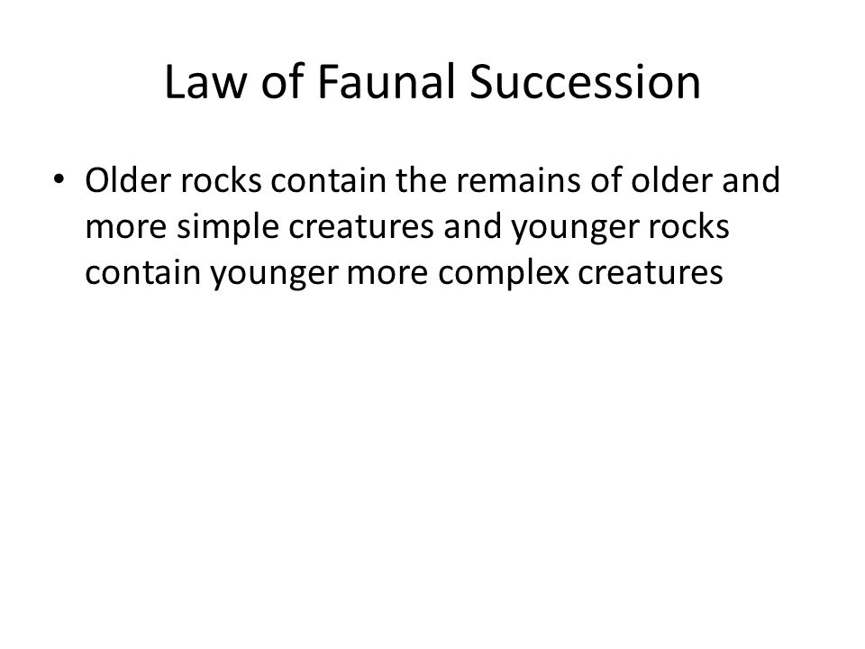 Law of Faunal Succession Older rocks contain the remains of older and more simple creatures and younger rocks contain younger more complex creatures