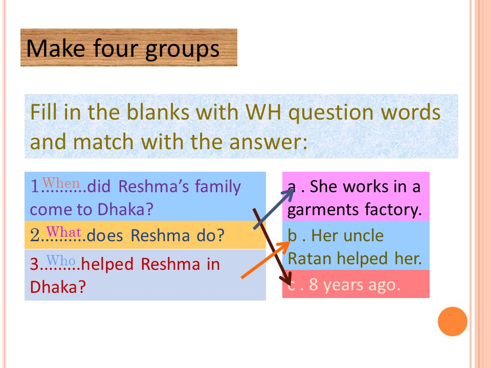 Fill in the blanks with WH question words and match with the answer: Make four groups 1..........did Reshma's family come to Dhaka? 2..........does Re