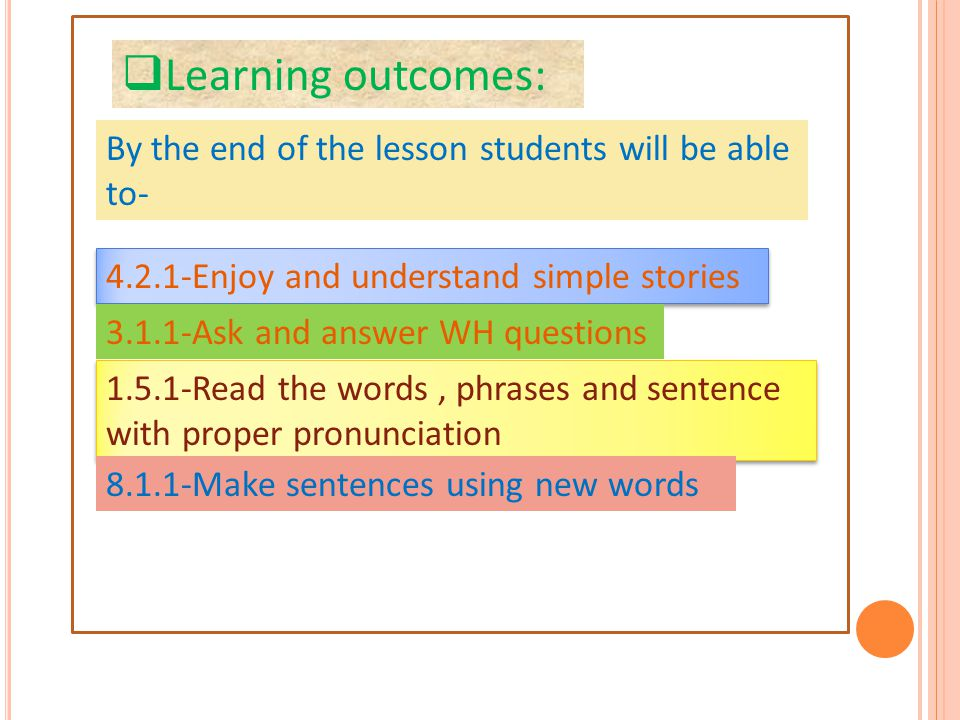  Learning outcomes: By the end of the lesson students will be able to- 4.2.1-Enjoy and understand simple stories 3.1.1-Ask and answer WH questions 1.5.1-Read the words, phrases and sentence with proper pronunciation 8.1.1-Make sentences using new words