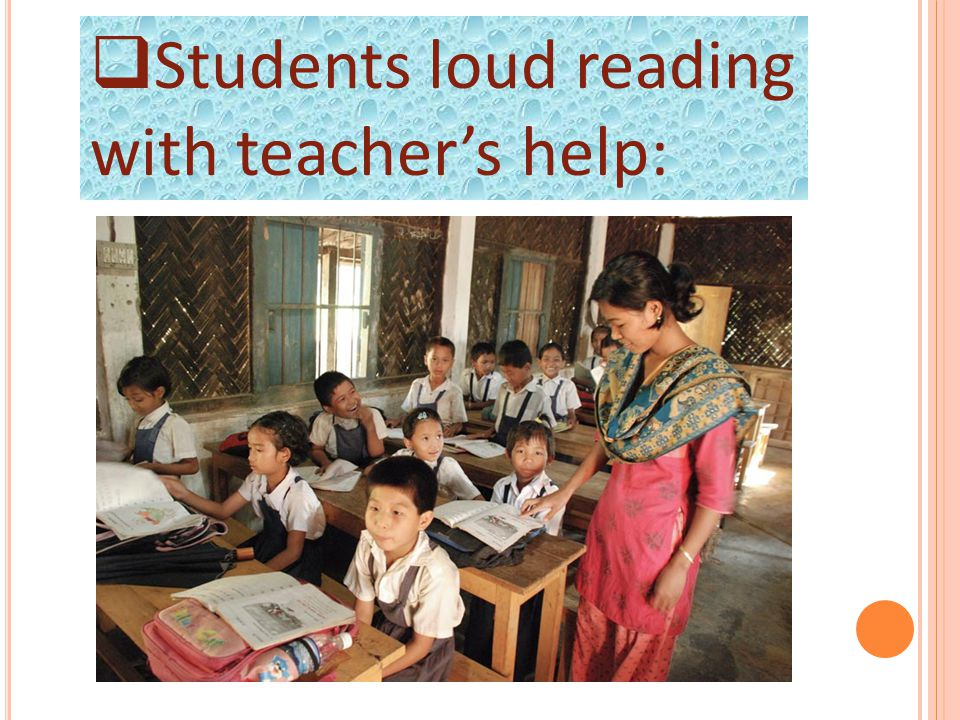  Students loud reading with teacher's help: