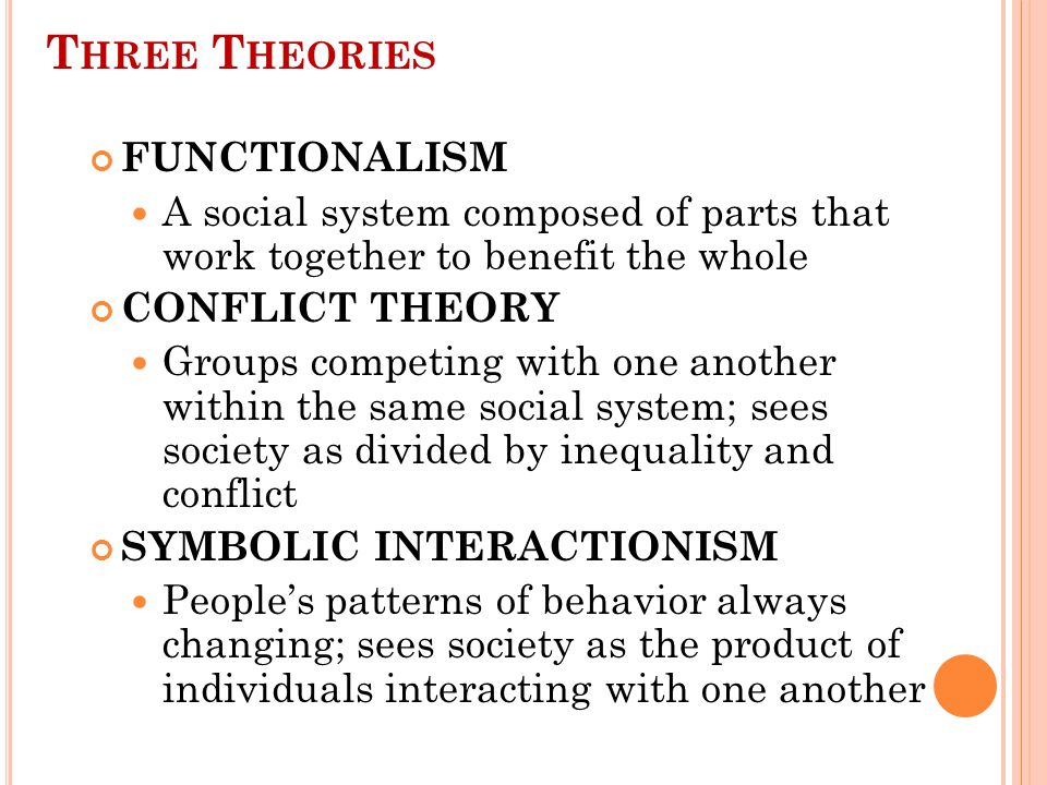 F UNCTIONALISM AND S OCIAL P ROBLEMS Major theory that sociologists use to interpret social problems Sees society as a system with many interrelated parts.