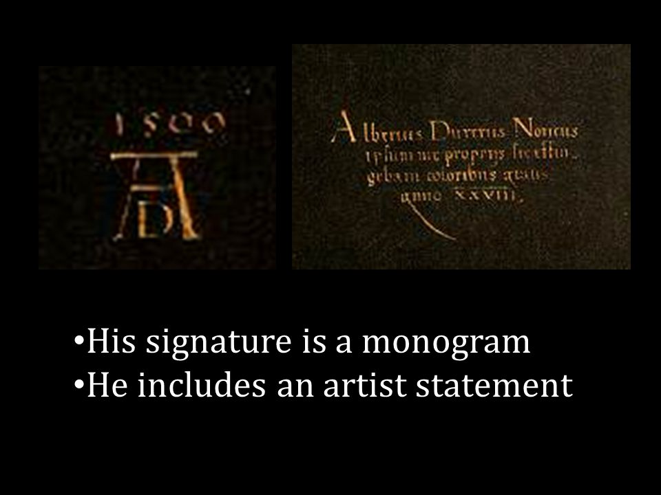 His signature is a monogram He includes an artist statement