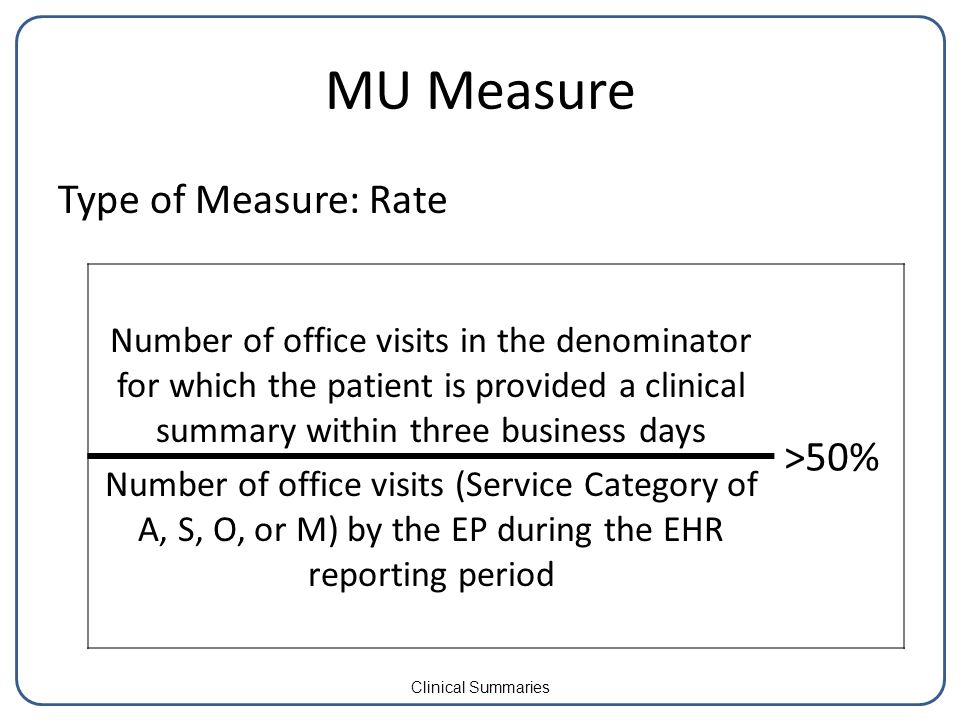 MU Measure Type of Measure: Rate Number of office visits in the denominator for which the patient is provided a clinical summary within three business