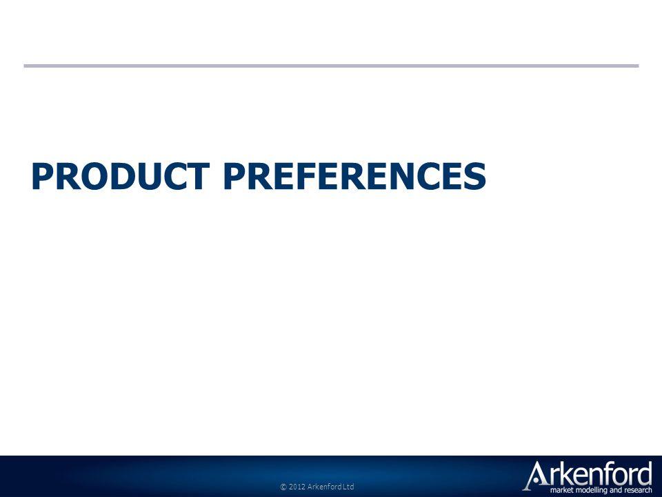 © 2012 Arkenford Ltd PRODUCT PREFERENCES