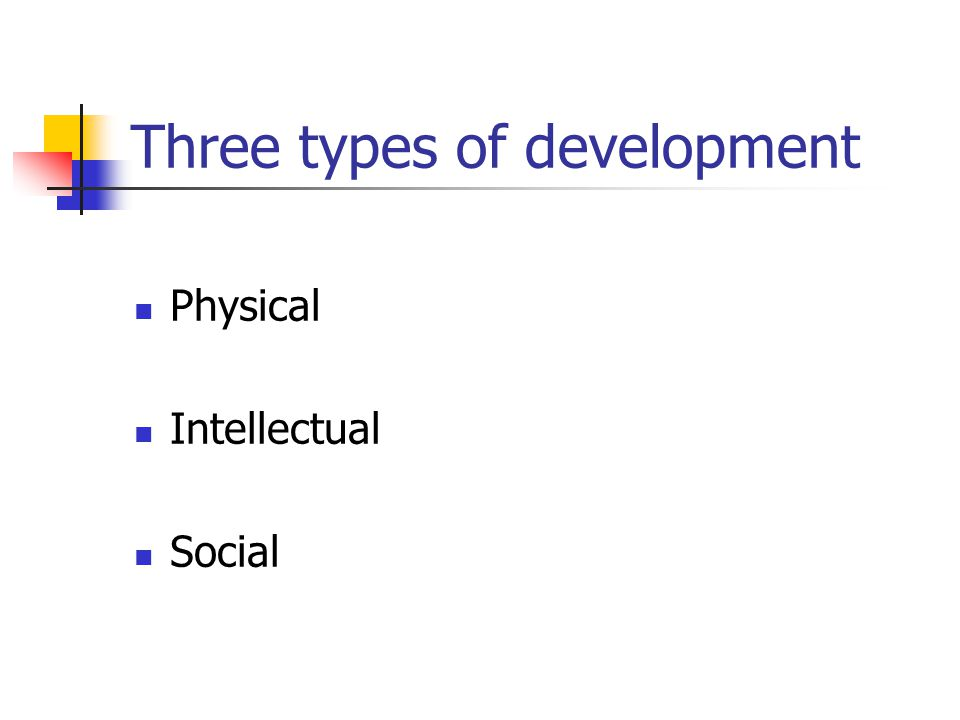 Three types of development Physical Intellectual Social