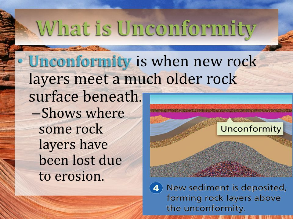 What is Unconformity Unconformity Unconformity is when new rock layers meet a much older rock surface beneath.