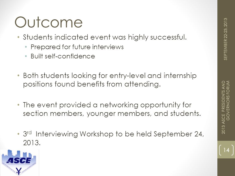 Outcome 14 2013 ASCE PRESIDENTS AND GOVERNORS FORUM SEPTEMBER 22-23, 2013 Students indicated event was highly successful.