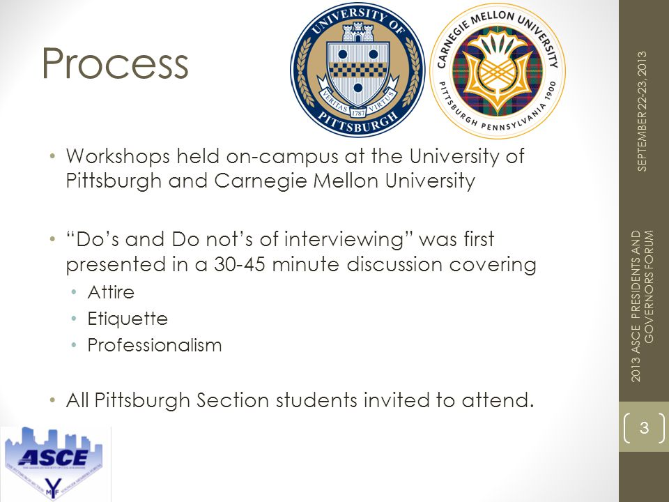 Process 3 2013 ASCE PRESIDENTS AND GOVERNORS FORUM SEPTEMBER 22-23, 2013 Workshops held on-campus at the University of Pittsburgh and Carnegie Mellon University Do's and Do not's of interviewing was first presented in a 30-45 minute discussion covering Attire Etiquette Professionalism All Pittsburgh Section students invited to attend.