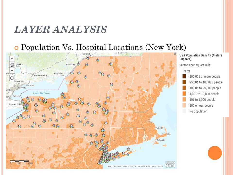 LAYER ANALYSIS Population Vs. Hospital Locations (New York)