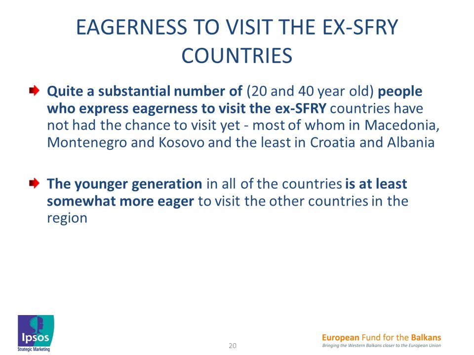 EAGERNESS TO VISIT THE EX-SFRY COUNTRIES Quite a substantial number of (20 and 40 year old) people who express eagerness to visit the ex-SFRY countries have not had the chance to visit yet - most of whom in Macedonia, Montenegro and Kosovo and the least in Croatia and Albania The younger generation in all of the countries is at least somewhat more eager to visit the other countries in the region 20