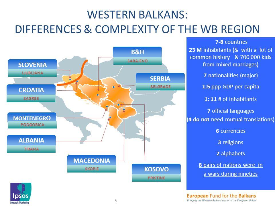 CROATIA ZAGREB MONTENEGR O PODGORICA ALBANIA TIRANA SERBIA BELGRADE B&H SARAJEVO WESTERN BALKANS: DIFFERENCES & COMPLEXITY OF THE WB REGION KOSOVO PRI