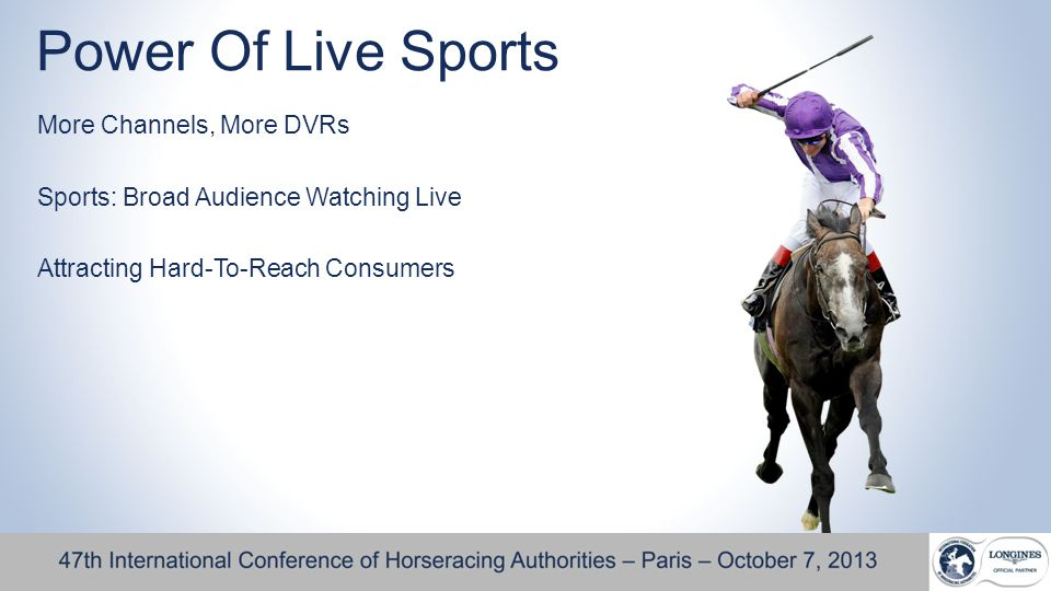 Power Of Live Sports More Channels, More DVRs Sports: Broad Audience Watching Live Attracting Hard-To-Reach Consumers